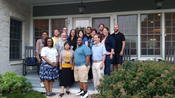 The inaugural cohort at Executive Editor Frank Shuhok's home on the last night of the retreat.