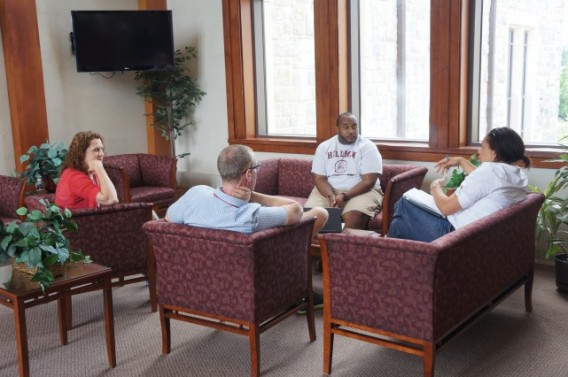 The retreat dedicates time to talking through ideas about writing.